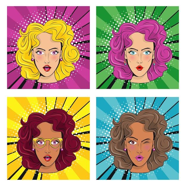 Gruppo di belle ragazze con colori capelli personaggi stile pop art. Vettore Premium