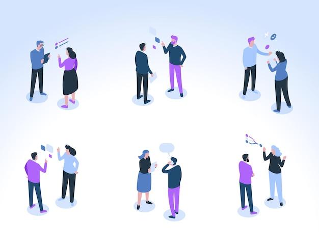 Un gruppo di uomini d'affari comunica. colleghi maschi e femmine parlano, si consultano, discutono di attività lavorative. fumetti e simboli di conversazione sopra le teste. Vettore Premium