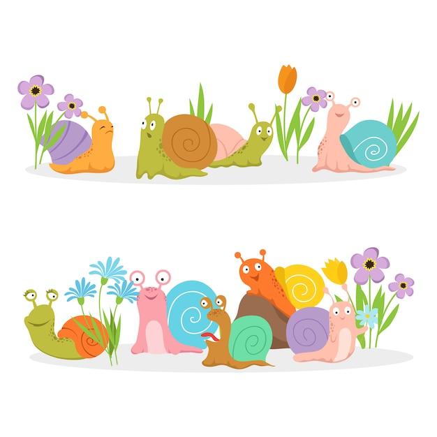 Gruppo di lumache del personaggio dei cartoni animati con i fiori Vettore Premium