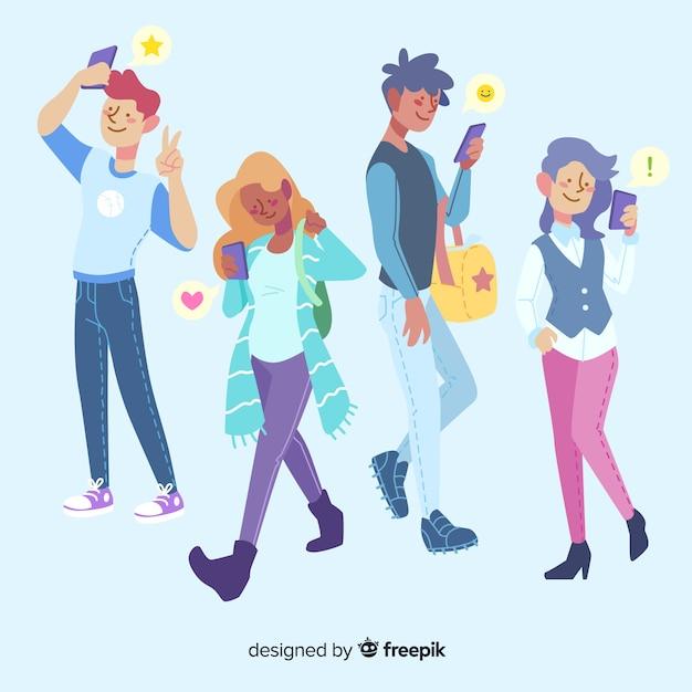 Gruppo di personaggi dei cartoni animati tramite telefono Vettore Premium