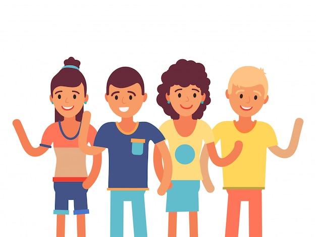 Raggruppi il carattere allegramente occidentale della gente isolato sulla mano d'ondeggiamento bianca, illustrazione. braccio europeo femminile di saluto dell'amico maschio. Vettore Premium
