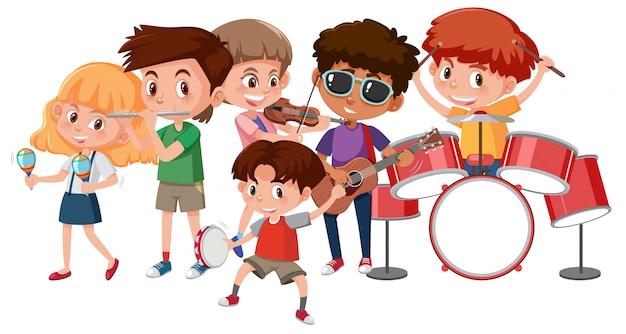 Gruppo di bambini che suonano strumenti musicali | Vettore Premium