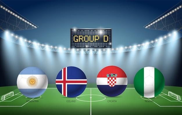 Torneo di calcio del gruppo d russia 2018 (argentina, islanda, croazia, nigeria) Vettore Premium