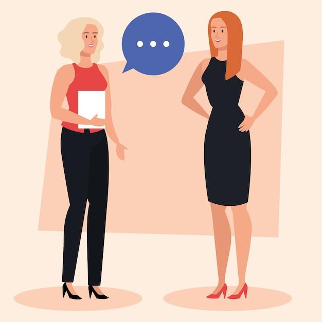 Gruppo di donne di affari eleganti con disegno dell'illustrazione della bolla di discorso Vettore Premium
