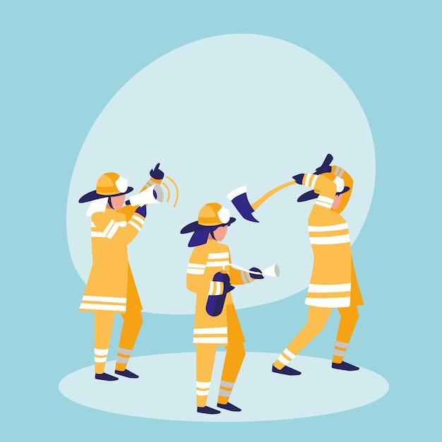 Gruppo di pompieri avatar personaggio Vettore Premium