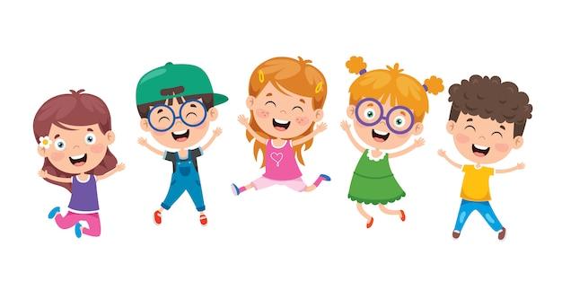 Gruppo di bambini divertenti salto Vettore Premium