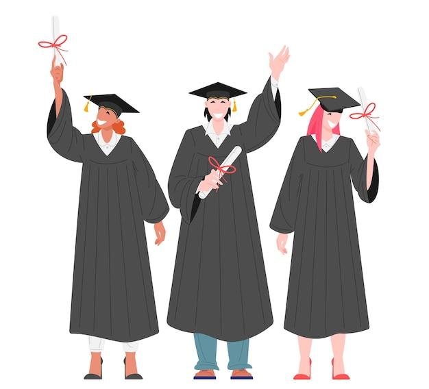 Gruppo di studenti laureati in possesso di illustrazione piatta diplomi Vettore Premium