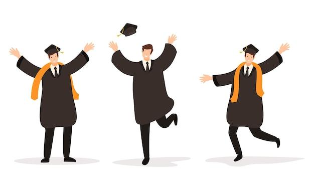 Un gruppo di laureati che si sono laureati con successo all'università Vettore Premium