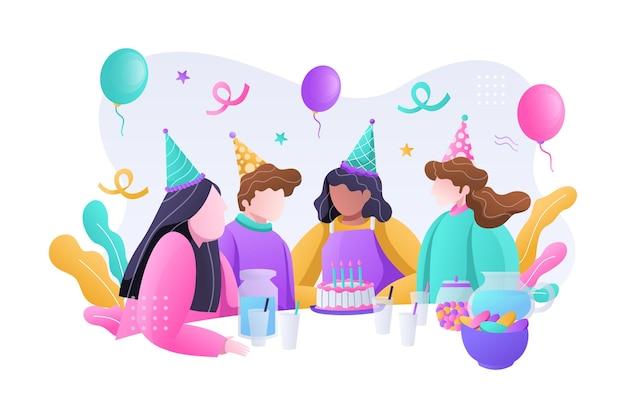Gruppo di bambino felice che celebra la festa di compleanno con torta e palloncini illustrazione Vettore Premium
