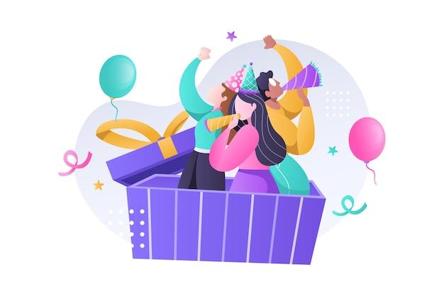 Gruppo di bambino felice che celebra la festa di compleanno con cappello, tromba e palloncini illustrazione Vettore Premium