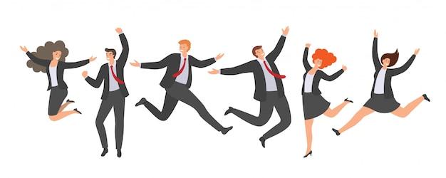 Gruppo di impiegati di salto felici su priorità bassa bianca. Vettore Premium