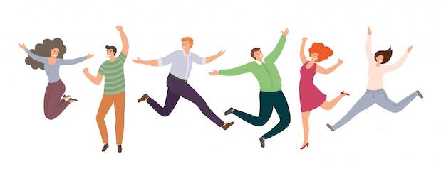 Gruppo di gente che salta felice in stile piano isolato su priorità bassa bianca. donne e uomini divertenti disegnati a mano del fumetto. Vettore Premium