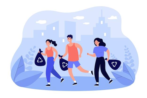 Gruppo di persone felici che raccolgono rifiuti mentre fanno jogging. Vettore Premium