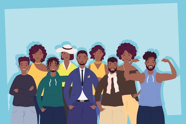 Un gruppo di nove persone afro caratteri illustrazione Vettore Premium