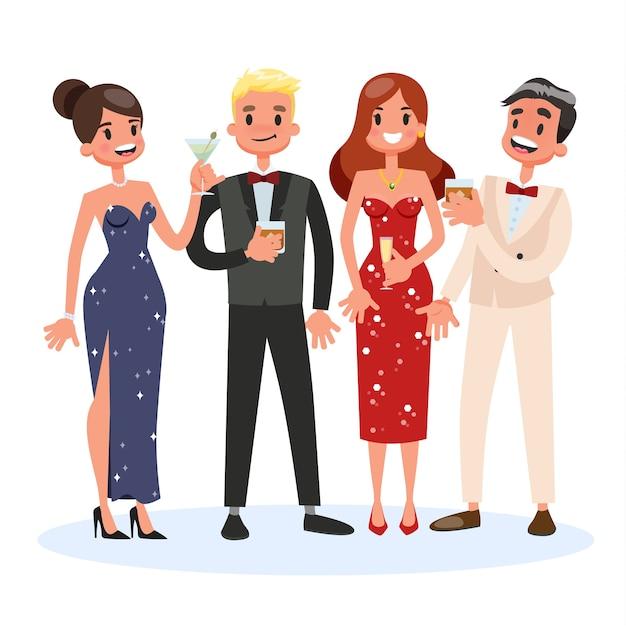 Gruppo di persone al cocktail party. donna in bel vestito Vettore Premium