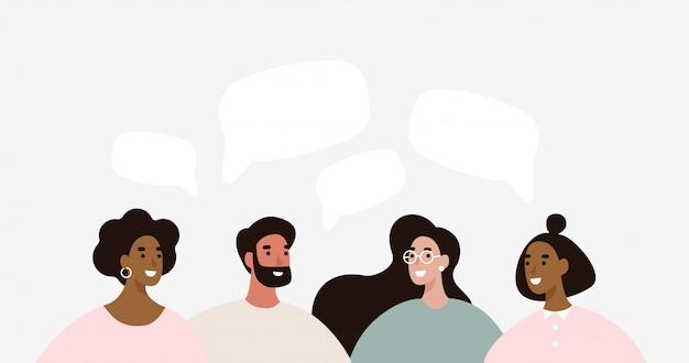 Un gruppo di persone discute delle notizie sui social media Vettore Premium