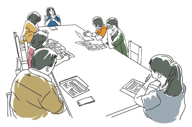 Un gruppo di persone si incontrano sul tavolo illustrazione arte linea Vettore Premium