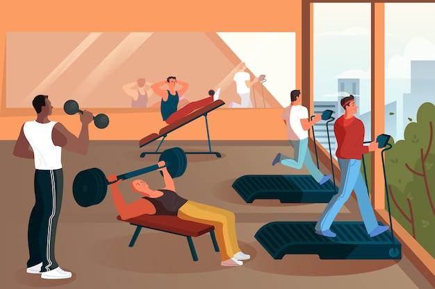 Gruppo di persone che si allenano in palestra. sollevare pesi e fare esercizio. sport e stile di vita sano. uomini che fanno allenamento. interni moderni della palestra. illustrazione Vettore Premium