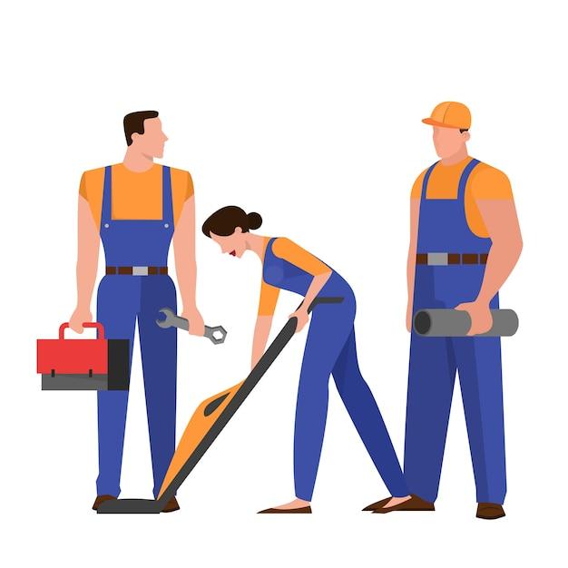 Gruppo di riparatori in uniforme. professione tecnica. carattere che tiene strumento professionale per il lavoro. illustrazione in stile Vettore Premium