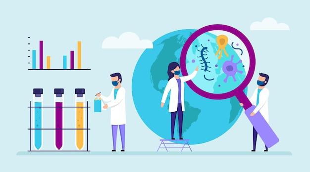 Gruppo di scienziati che indagano sui virus in tutto il mondo. personaggi maschili e femminili. persone in camice bianco con boccette mediche, lente di ingrandimento, infografica. Vettore Premium