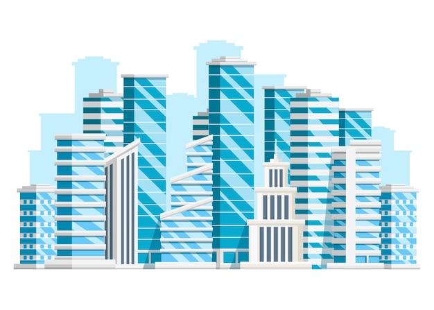 Gruppo di grattacieli. collezione di edifici aziendali. elementi della città. illustrazione su sfondo bianco. pagina del sito web e app per dispositivi mobili. Vettore Premium