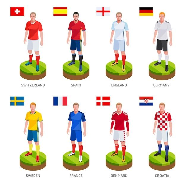 Gruppo di calcio giocatore di football jersey nazionale della squadra del mondo Vettore Premium