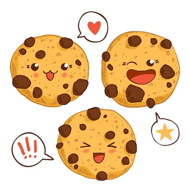Gruppo di tre simpatici biscotti kawaii con chip chocolste. Vettore Premium