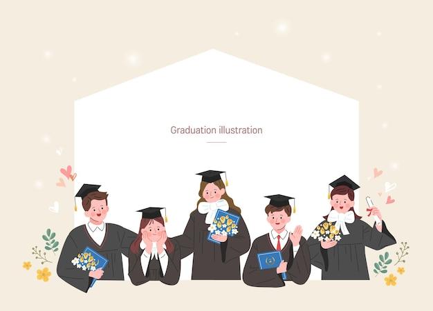 Un gruppo di laureati Vettore Premium