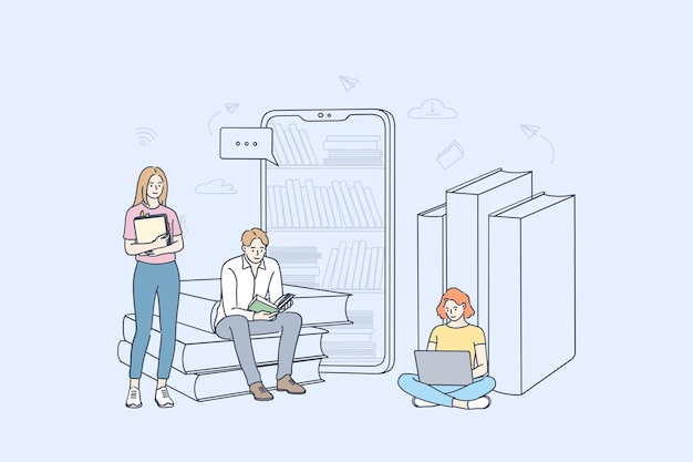 Un gruppo di giovani studenti personaggi dei cartoni animati che imparano online, leggono e-book e studiano con smartphone e laptop meglio illustrazione Vettore Premium