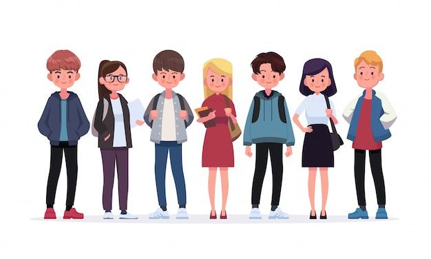 Gruppo di giovani studenti. illustrazione di stile piano isolato su bianco Vettore Premium