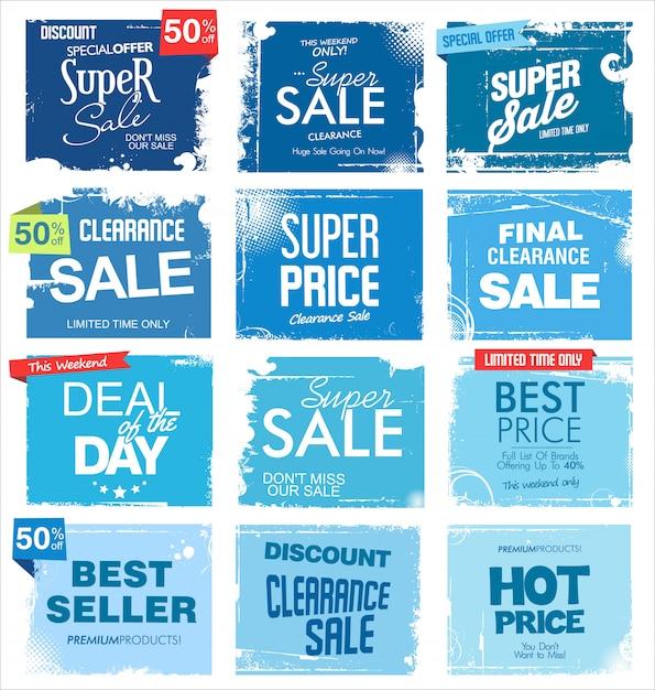 Collezione grunge di sfondo di vendita Vettore Premium