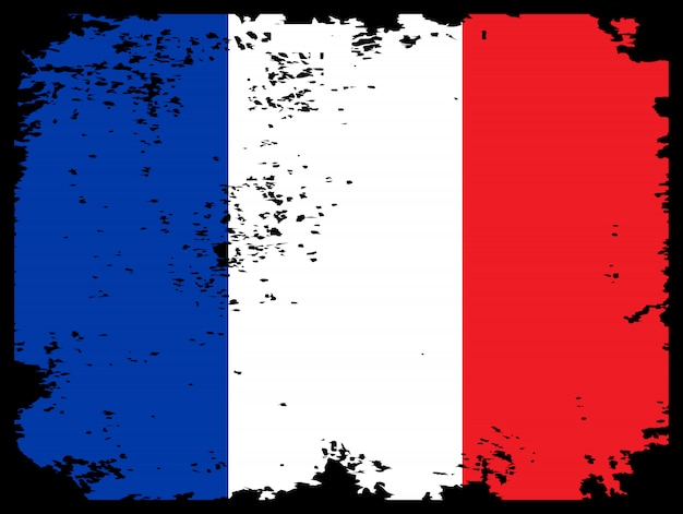 Bandiera grunge della francia come sfondo Vettore Premium