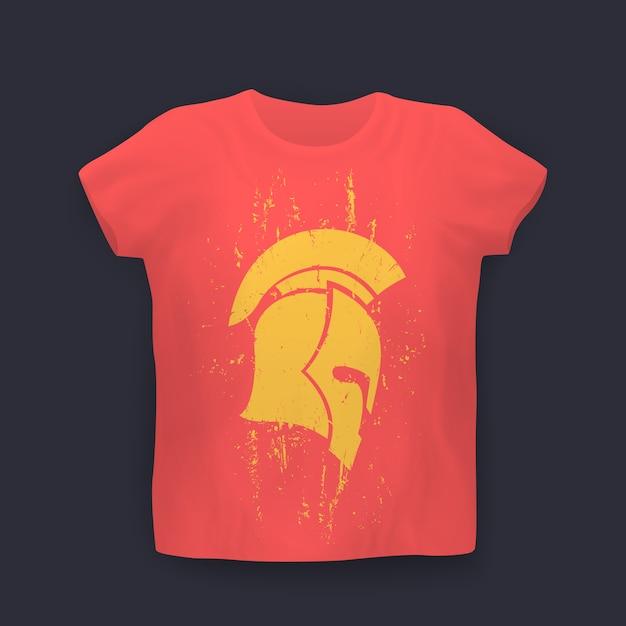 Casco spartano grunge di profilo, stampa t-shirt Vettore Premium