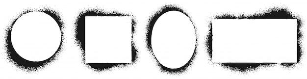 Cornici stencil grunge. telaio verniciato a spruzzo, texture di schizzi di inchiostro e set di illustrazioni vettoriali per bordi di stencil Vettore Premium