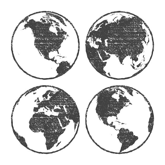 Trasparente stabilito del globo grigio della mappa di mondo di struttura di lerciume Vettore Premium