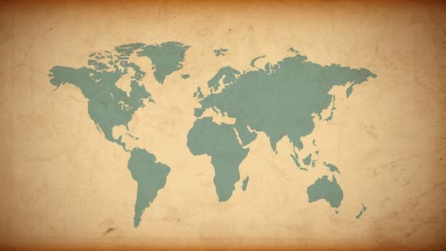 Mappa del mondo di lerciume su vecchia carta Vettore Premium