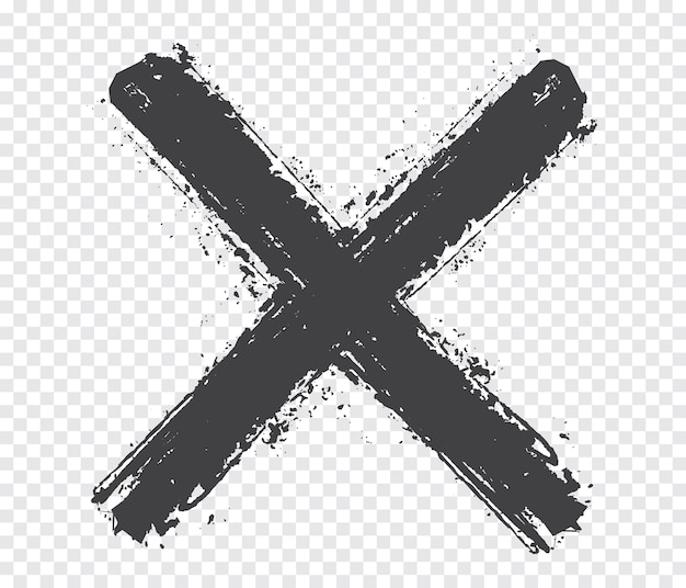 Segno x grunge Vettore Premium