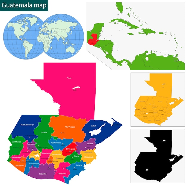 Mappa del guatemala Vettore Premium