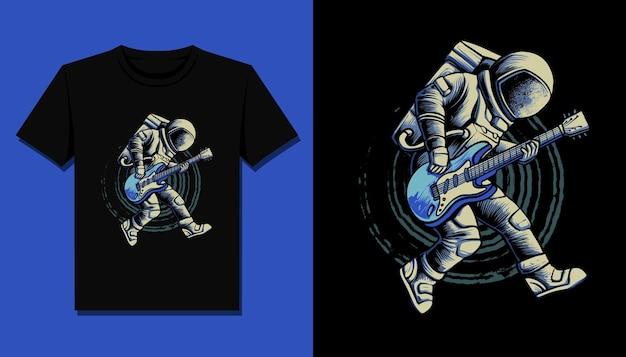 Prestazioni di astronauta chitarrista per il design della maglietta Vettore Premium