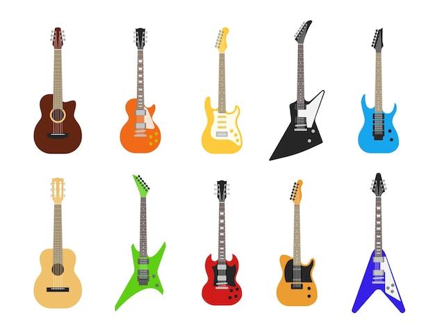 Chitarre. strumenti musicali per chitarra acustica ed elettrica per l'intrattenimento. set chitarra elettrica vintage Vettore Premium