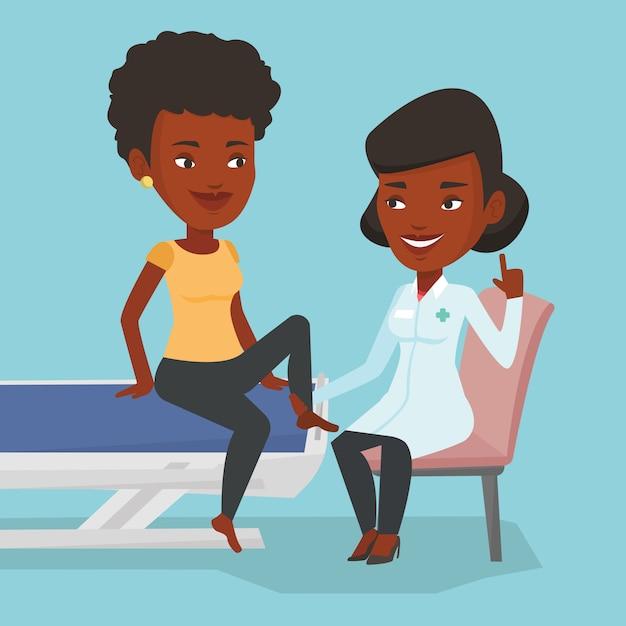Medico della palestra che controlla caviglia di un paziente. Vettore Premium