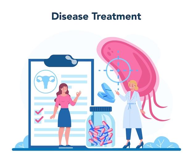 Ginecologo, riproduttologo e concetto di salute delle donne. anatomia umana, ovaio e utero. trattamento della malattia. illustrazione isolata nello stile del fumetto Vettore Premium