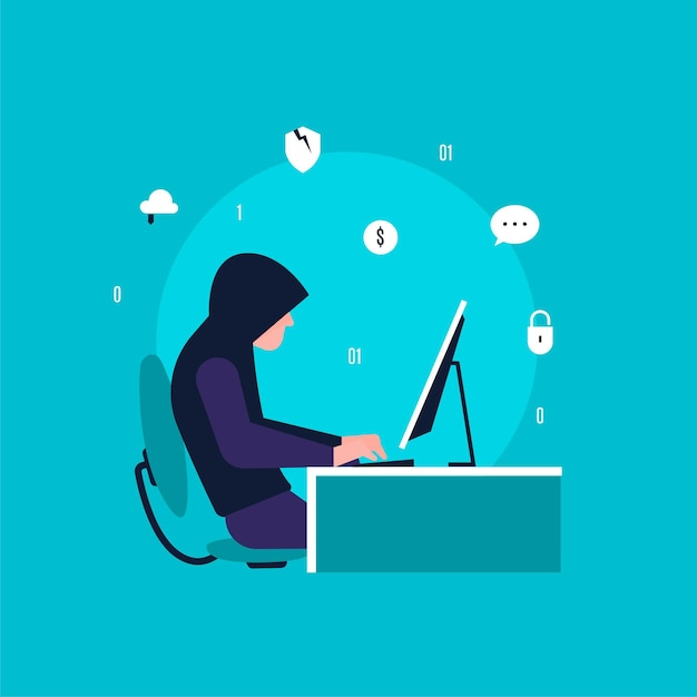 Attività di hacker che cerca e ruba dati Vettore Premium