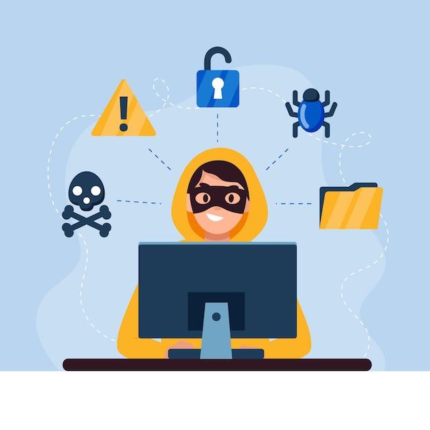 Hacker illustrato con elementi di sicurezza Vettore Premium