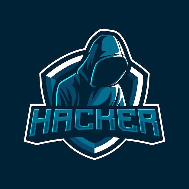 Illustrazione del logo mascotte hacker Vettore Premium