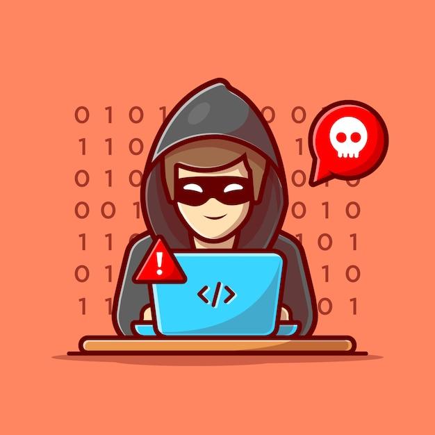 Pirata informatico che fa funzionare un'icona del computer portatile. hacker e laptop. pirata informatico e icona di tecnologia isolata Vettore Premium