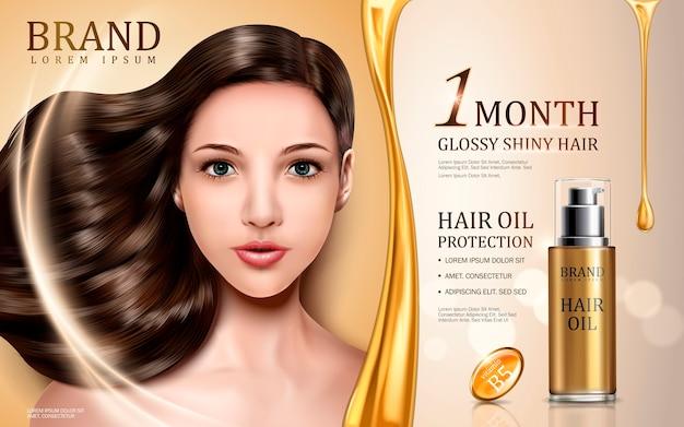 Protezione olio per capelli contenuta in bottiglia con viso modello, sfondo dorato Vettore Premium