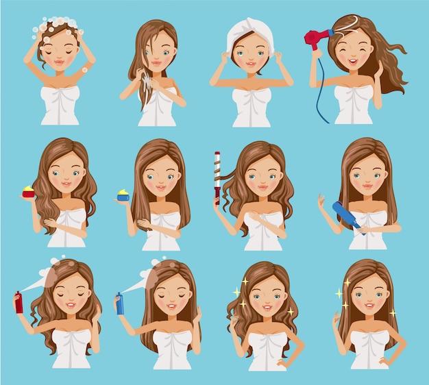 Cura dei capelli delle donne impostate. Vettore Premium