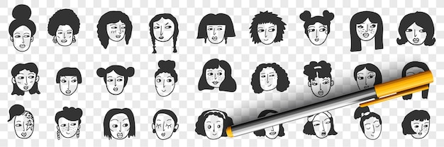 Acconciatura di donna bruna doodle set Vettore Premium