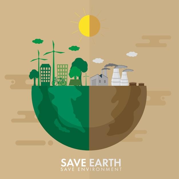 Mezza terra di città verde o eco e inquinamento per salvare il concetto di ambiente. Vettore Premium